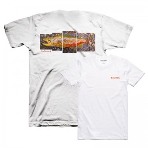 Simms DeYoung Brown Trout T-Shirt White